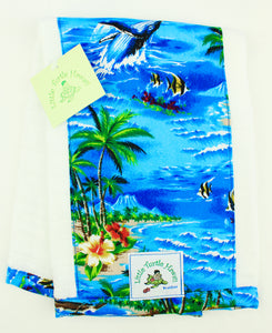 Hawaiian Baby Burp Cloth: Lahaina Blue