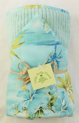 Hawaiian Baby Hooded Bath Towel: Seaside Hanalei Aqua