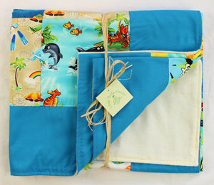 Hawaiian Baby and Toddler Patchwork Blanket: Ekolu Turquoise Patchwork