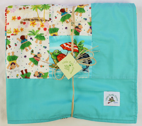 Hawaiian Baby and Toddler Blanket, Patchwork Blanket, Made in Hawaii, Hawaiian Baby Shower Gift: Elua Mint Blue Patchwork