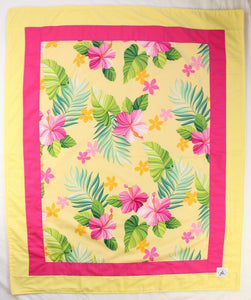 Hawaiian Baby Blanket: Mele Yellow & Pink Border