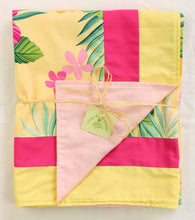 Load image into Gallery viewer, Hawaiian Baby Blanket: Mele Yellow & Pink Border