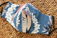 Load image into Gallery viewer, Face Mask, Reversible, Breathable Cotton Hawaiian Print, Reusable Face Mask: Surfer Blue Hawaiian
