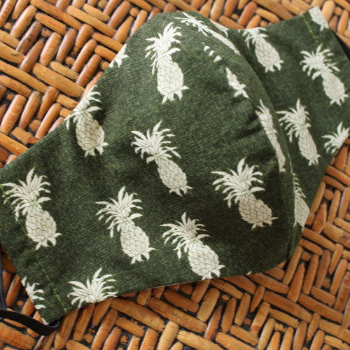 Face Mask, Reversible, Breathable Cotton Hawaiian Print, Reusable Face Mask: Green Hawaiian Pineapple