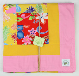 Hawaiian Baby and Toddler Blanket, Patchwork Blanket, Made in Hawaii, Hawaiian Baby Shower Gift: Ehiku Pink Patchwork