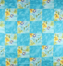Load image into Gallery viewer, Hawaiian Baby and Toddler Blanket, Patchwork Blanket, Made in Hawaii, Hawaiian Baby Shower Gift: Ekolu Aqua Patchwork