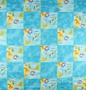 Hawaiian Baby and Toddler Blanket, Patchwork Blanket, Made in Hawaii, Hawaiian Baby Shower Gift: Ekolu Aqua Patchwork