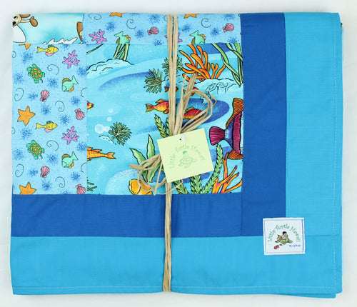 Hawaiian Baby and Toddler Patchwork Blanket: Eha Turquoise Patchwork