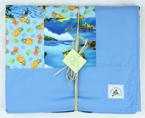 Hawaiian Baby and Toddler Patchwork Blanket: Ekahi Blue Patchwork