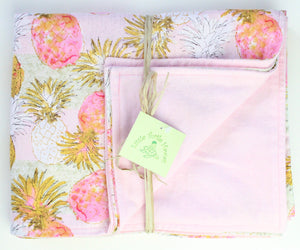 Hawaiian Baby Blanket: Pineapple Pink
