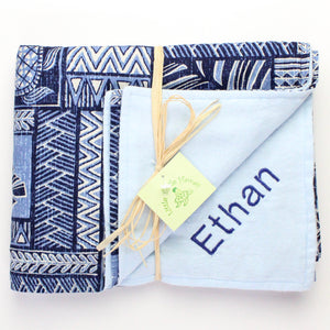 Personalized, Made to Order, Coordinating Hawaiian Baby Gifts: Seashore Blue