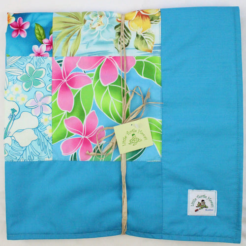 Hawaiian Baby and Toddler Patchwork Blanket: Ekahi Turquoise Floral Patchwork