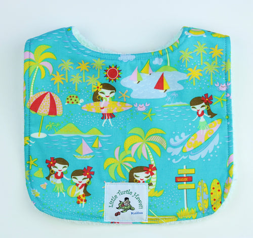 Hawaiian Baby Bib: Seaside Hula Turquoise