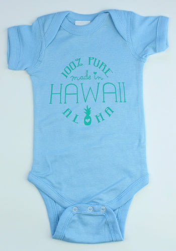 Made in Hawaii Onesie: Light Blue