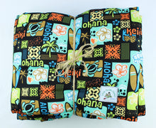 Load image into Gallery viewer, Hawaiian Print Baby Comforter: Keiki Aloha Black