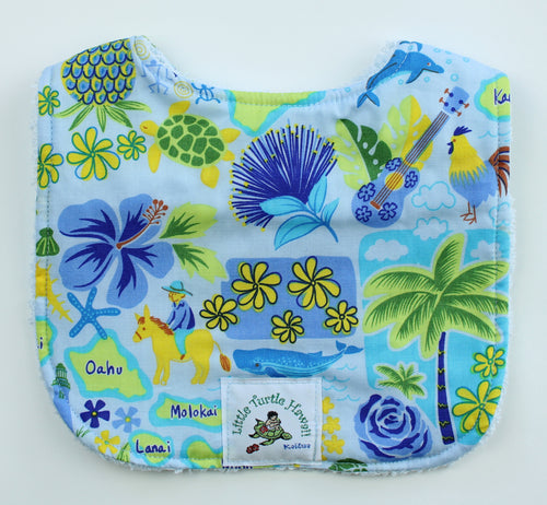 Hawaiian Baby Bib: Islands of Aloha Light Blue