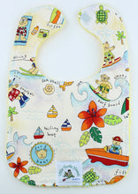 Load image into Gallery viewer, Hawaiian Baby Bib: Surf Bear White