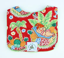 Load image into Gallery viewer, Hawaiian Baby Bib: Luau Lulu Red