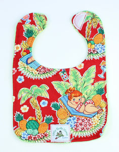 Hawaiian Baby Bib: Luau Lulu Red