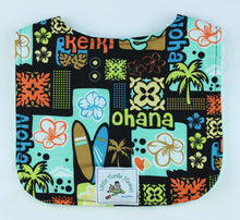 Load image into Gallery viewer, Hawaiian Baby Bib: Keiki Aloha Black