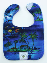 Load image into Gallery viewer, Hawaiian Baby Bib: Midnight Swim Blue