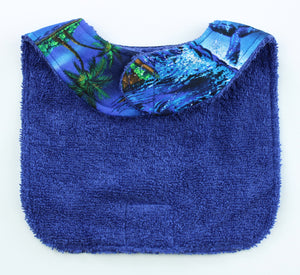 Hawaiian Baby Bib: Midnight Swim Blue