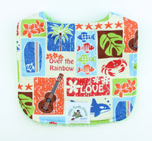 Load image into Gallery viewer, Hawaiian Baby Bib: Love Aloha Green