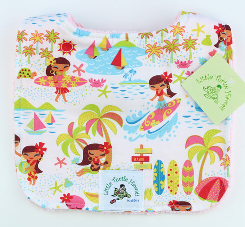 Hawaiian Baby Bib: Seaside Hula White