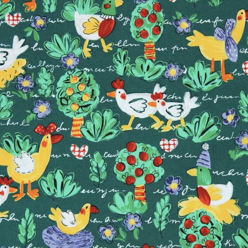 Fabric, Novelty Print Fabric By the Yard: Chicken Scratch Green