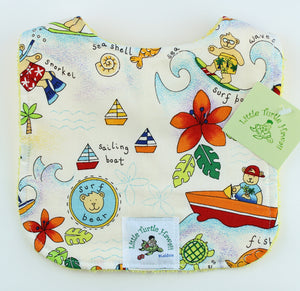 Hawaiian Baby Bib: Surf Bear White