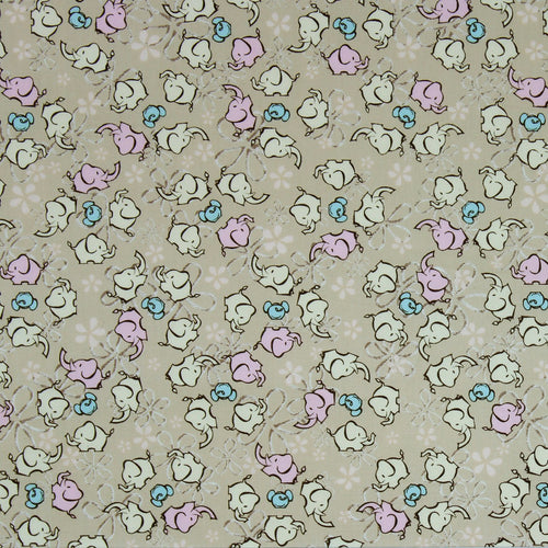 Fabric by the Yard, Hawaiian Print: Elephant Ohana Khaki