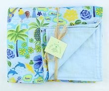 Load image into Gallery viewer, Hawaiian Baby Blanket: Islands of Aloha Periwinkle Blue