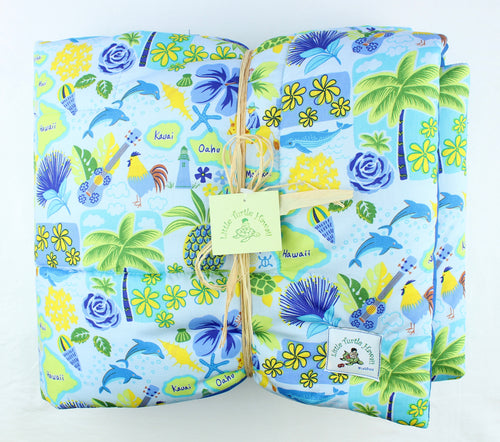 Hawaiian Print Baby Comforter: Islands of Aloha Periwinkle Blue
