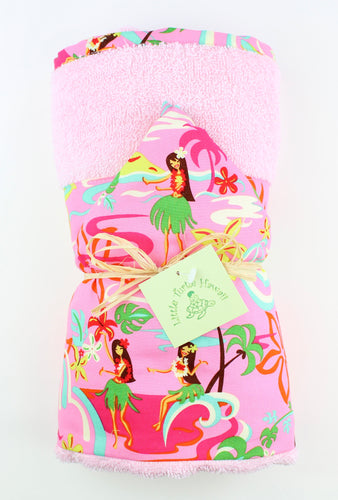Hawaiian Baby Hooded Bath Towel: Hula Honeys Pink