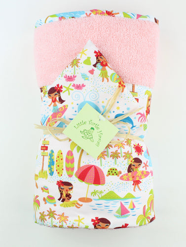 Hawaiian Baby Hooded Bath Towel: Seaside Hula Pink