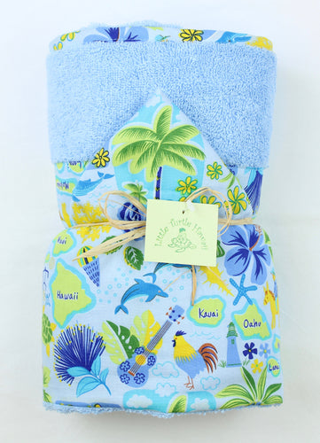 Hawaiian Baby Hooded Bath Towel: Islands of Aloha Peri Blue