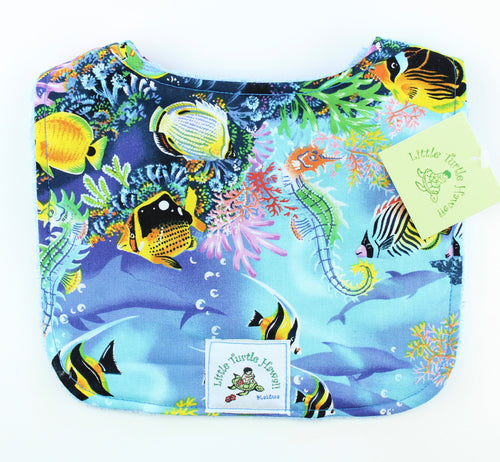 Hawaiian Baby Bib: Ocean Dreams Blue