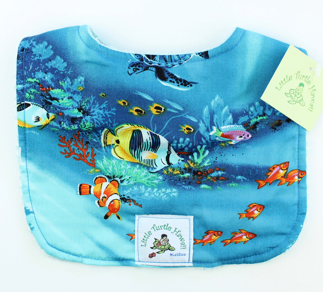 Hawaiian Baby Bib: Under the Sea Turquoise