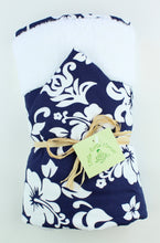 Load image into Gallery viewer, Hawaiian Baby Hooded Bath Towel: Kainalu Navy Blue