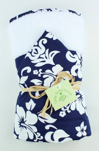 Hawaiian Baby Hooded Bath Towel: Kainalu Navy Blue