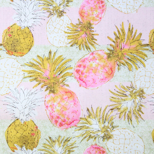 Fabric by the Yard, Hawaiian Print: Pineapple Pink