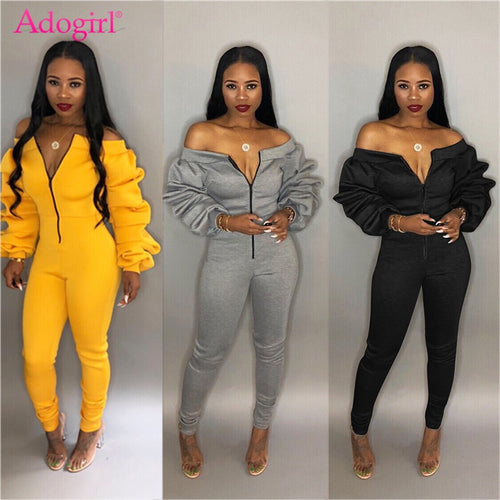 Zipper Neck Off Shoulder Long Puff Sleeve Jumpsuit