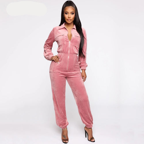 Velvet Long Sleeve High Waist Jumpsuit