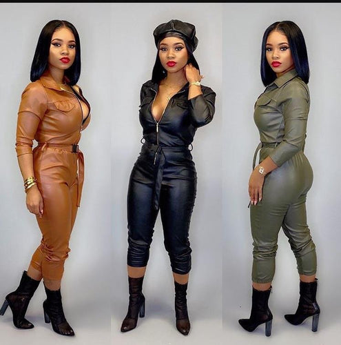 Leather Look Long Sleeve Party Rompers