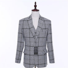 Load image into Gallery viewer, Plaid Wool Blended Slim Fit Pant Suit
