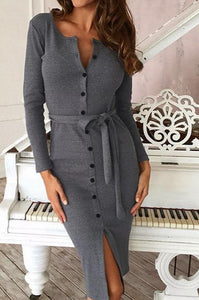 Button Down Classy Office Dress