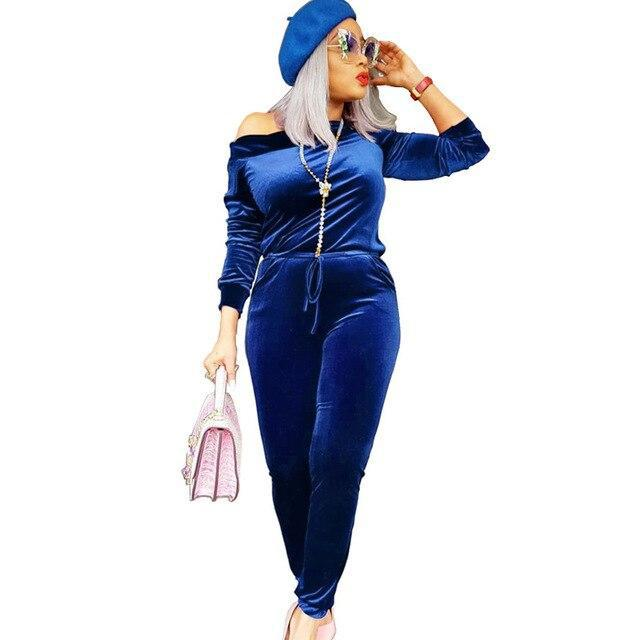 Velvet Off Shoulder Jumpsuit