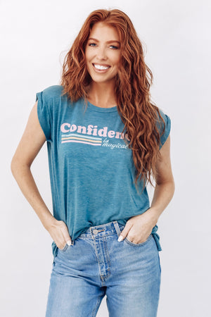 PRESALE - Confidence is Magical - Women's Flowy Muscle Tee - Deep Heather Teal