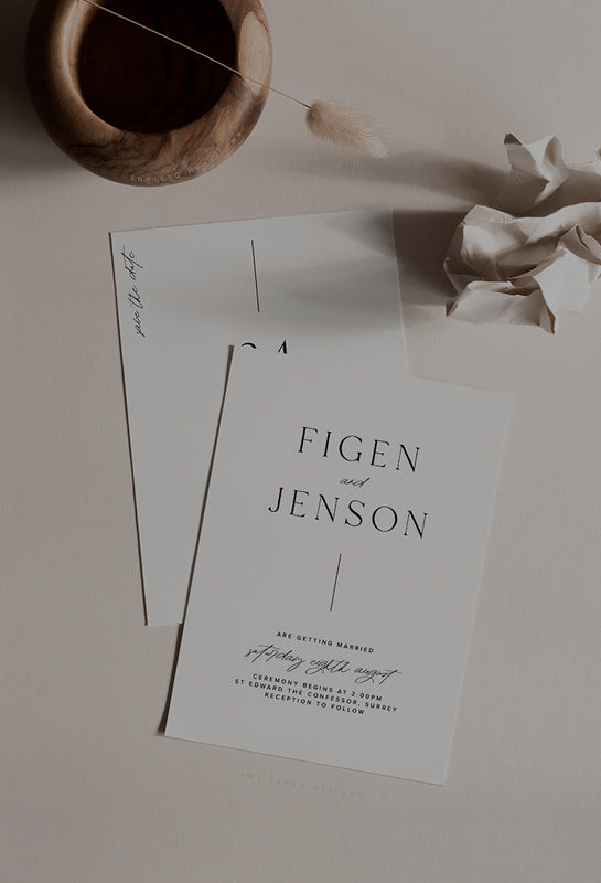 Simple Wedding Invitation Minimalist Style by Amy Tarah Designs