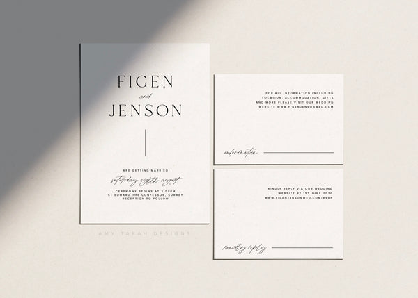 Classic Modern Wedding Invitation Suite